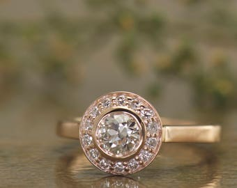 Bezel Set Diamond Halo Engagement Ring in Rose Gold, 0.40ct Natural Diamond Center, Bead Set Diamond Halo, Peek-a-Boo Diamonds, Elizabeth S