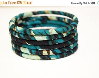 SUMMER SALE 6 Handmade African Fabric Bangles, Handmade Bangles, African Print Bangles, African Bracelets, Bracelets Africains