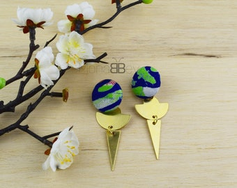 Textile earrings, boucles d'oreilles ethniques en tissu wax, bijoux wax, african fabric earrings for women, birthday gift for women