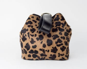 Hair on hide leopard clutch, animal print purse, statement small bag, hair on hide wallet, hair on hide purse, gift for women, unique purses