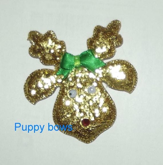 Puppy dog Bows ~ Christmas RUDOLPH glitter reindeer  pet hair bow (fb64)