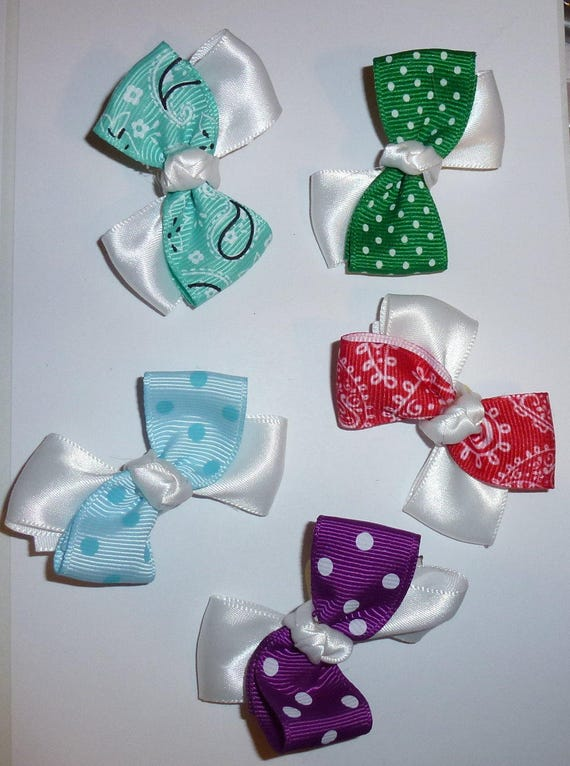 Puppy Bows ~ 5 double loop mix  pet hair bow latex band ~Usa seller (fb92)