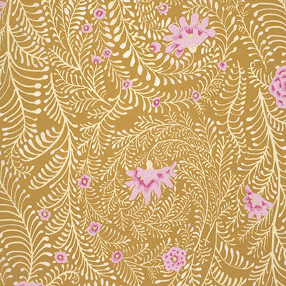 FERNS YELLOW Kaffe Fassett PWGP147 Sold in 1/2 yd increments