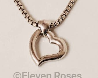 Barry Kieselstein Cord Open Heart Pendant 925 Sterling Silver Free US Shipping