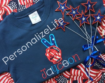 Fourth of July shirt, , patriotic shirt, independent day. Fourth of July Peace sign shirt. Personalized Independence Day shirt.