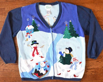 AMAZING Vintage Ugly Christmas Sweater with Great Pattern and Ho Ho Ho - Unisex Large
