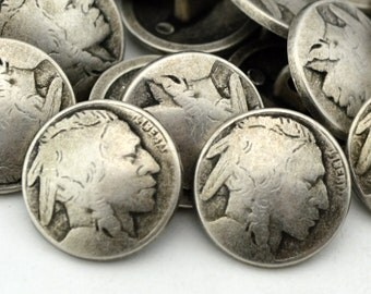 Buffalo Nickel Metal Buttons 5 8 Antique Silver Shank