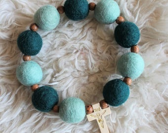 Jade & Mint Felt Ball Decade Rosary, Jade and Mint paired with a wood accent bead