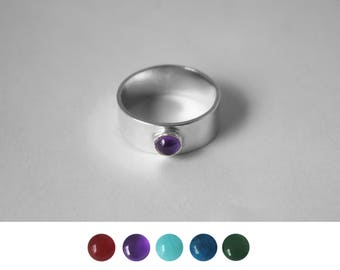 Modern Thick Banded Ring with Small Stone
