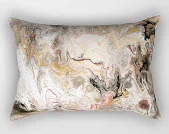 Earth Tones Marble Pillow Case - warm modern bedroom, decor, art, curate the bedroom