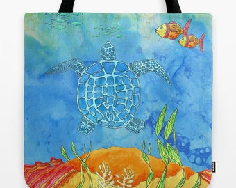 Sea Turtle Tote Bag, Ocean, colorful, blue and orange, surfer, beach, blue, surf coastal, beach bag, pool tote, gift for her