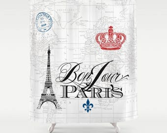 Paris Shower Curtain - map fabric, Bonjour red white and blue, french, crown, Eiffel Tower - home,  spa bathroom
