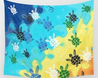Baby Sea Turtle Blanket - cute comfy fleece throw blanket - Ocean life, surf, surfer, undersea turtle, animals, blue and yellow, coastal