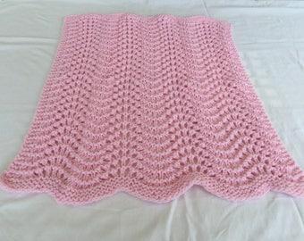 Crocheted Grany Ripple Star Baby Afghan Stroller Blanket