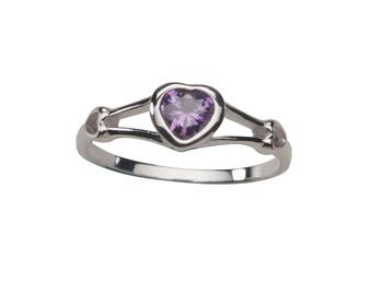 Sterling Silver Baby Ring with Amethyst CZ Heart for Girls (BR-59-Ameth)