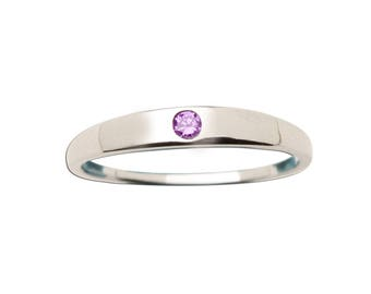 Sterling Silver Baby Ring with Amethyst Stone for Girls (TCR-04 Amethyst)