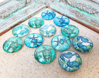 Beach magnets - decorative magnets - turquoise magnets - refrigerator magnets #M34