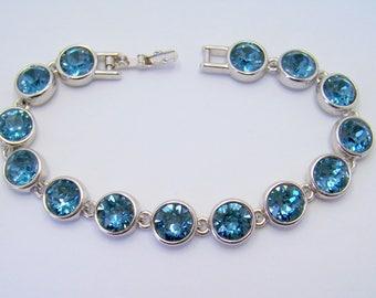 Blue Crystal Bracelet Swarovski Blue Bracelet Dark Blue