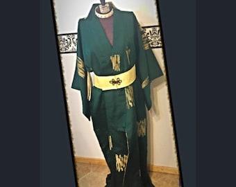 1960's Authentic Japanese Yukata Kimono Robe, Large XL, Plus, Vintage Gothic Dressing Gown 60's Japanese Green Burlesque Kimono Size 14