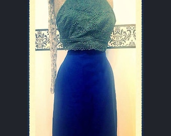 1980's Navy Blue Wiggle Skirt, 80's Pun Up Wiggle Skirt by Adolfo Stufio Size 8, Vintage  Navy Linen Hipster Skirt