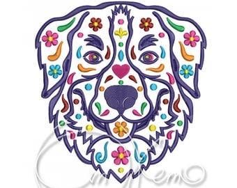 MACHINE EMBROIDERY DESIGN - Calavera Bernese Mountain Dog, Calavera dog, Day of the dead
