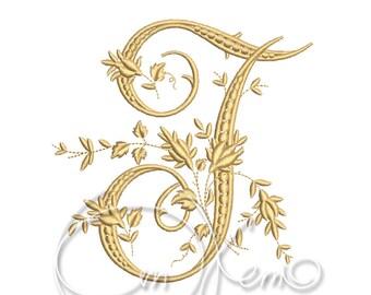 MACHINE EMBROIDERY DESIGN - Victorian Letter T1 embroidery, Victorian alphabet embroidery, Antique alphabet embroidery, Monogram embroidery