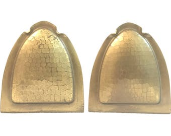 Roycroft Arts & Crafts Hammered Copper Semi-Circular and Arch-Form Bookends c. 1910-1915
