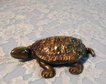 Solid Brass Turtle Trinket Box