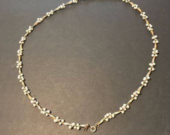 """Long cultured pearl cluster and gold tone neclace 12"""" long"""