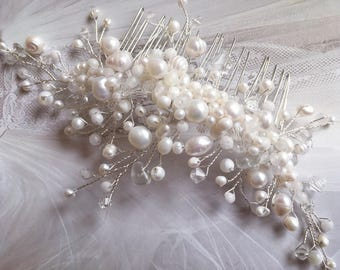 Bridal Handmade Haircomb, Wedding Hair Accessory, Jewelry for Bride with Swarovski Crystals, Real Pearls and Semiprecious Stones