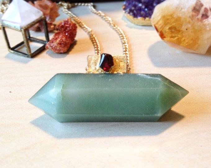 Aventurine Wand with Spessartine Garnet and Gold Leaf Necklace