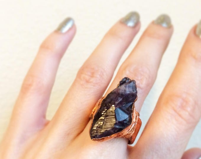 SALE Raw Brazilian Amethyst with Rose Gold Leaf Ring, Size 5.75