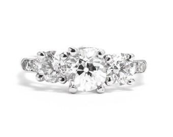 Art Deco 1.48ct European Cut Diamond Three Stone Ring in Platinum