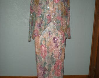 Vintage Lillie Rubin Floral Sequin & Beaded Long Dress 1920's Gatsby Style Size M/Women's size 10
