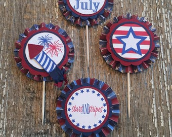 4th of July Cupcake Toppers (Set of 12)