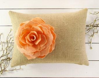 Burlap Flower Pillow, Rustic Pillow, Flower Pillow, Throw Pillow, Decorative Pillow, Gift for Her, Living Room Decor, Burlap Pillow