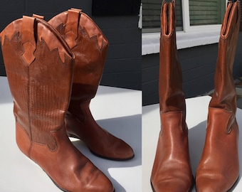Size 9 Eighties Cowboy boots by Mister Shoes Brown with leather and reptile embossed