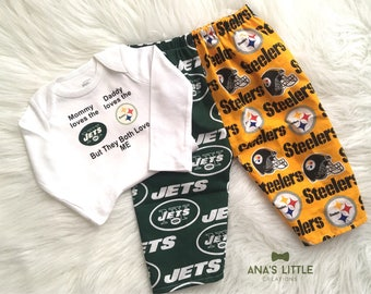 Custom House Divided Football Bodysuit ( Pittsburgh Steelers- NewYork Jets) But They Both Love Me Pants or Shorts 2pc Set