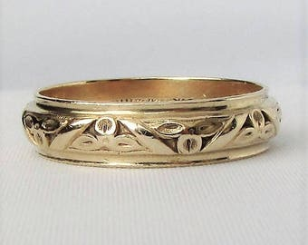 14K Yellow Gold JR Wood and Sons Art Carved Mens Wedding Band Ring - Gorgeous Detailing Size 10.25-10.5 Excellent Condition!