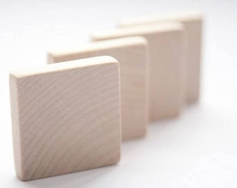 """20 pcs unfinished 1 3/4"""" (4,5cm) Wood Squares for wood crafts, wooden supplies"""
