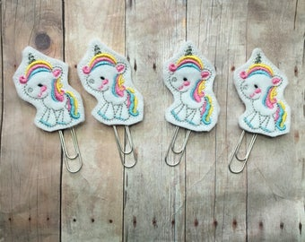 Set of 2 or 4 embroidered felt unicorn paper clips -- gold or silver toned -- great clothing downline or consultant gift