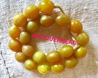 Ethiopia large old yellow Antique beads- Venetian old beads - Africa trade beads