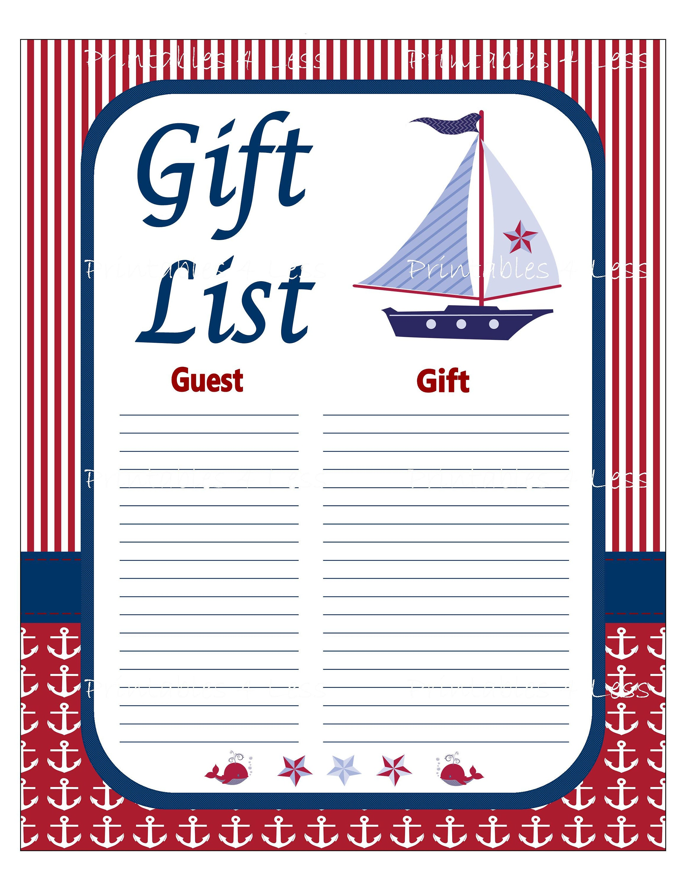 Nautical Gift List Printable Nautical Baby Shower Gift List