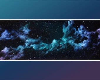 "Original 12x36"" Oil Painting - Rainbow Nebula Wall Art"