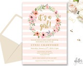 Simple Blush Baby Girl Shower Invitation Printable, Custom Downloadable Shower Invitation, Gold Blush Pink, Floral Wreath, 012