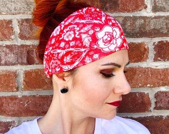 Red Headwrap, Red White Floral Headband, Yoga, Women's Headwrap, Turban, Knot, Patriotic Headband, Bandana, Workout Band, Wide Headband, USA