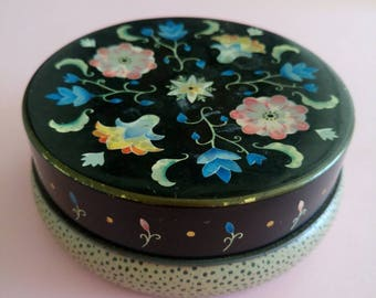 Vintage round Toffee Tin Box floral decoration collectible