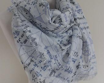 Mathematics Pattern Scarf, Maths, geometrical shapes writing print fabric, Geek shawl Scarf, book lover gift teacher, geek, dork, nerd gifts