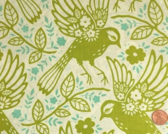 CLEARANCE Half Yard - Up Parasol by Heather Bailey for Free Spirit Fabrics  - Meadowlark in Chartreuse