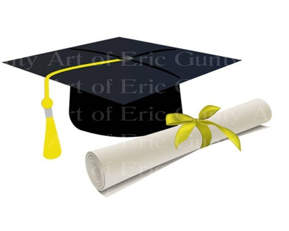 Yellow Graduation Cap & Diploma - Edible Cake and Cupcake Topper For Birthdays and Parties! - D22885
